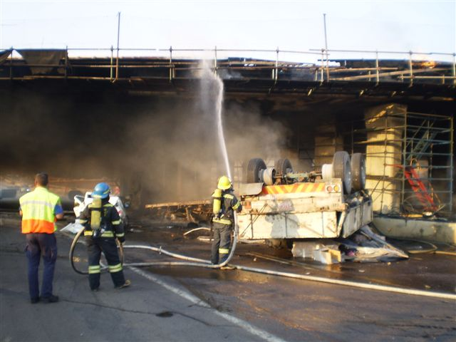 Photos of Atterbury accident and vehicle fire