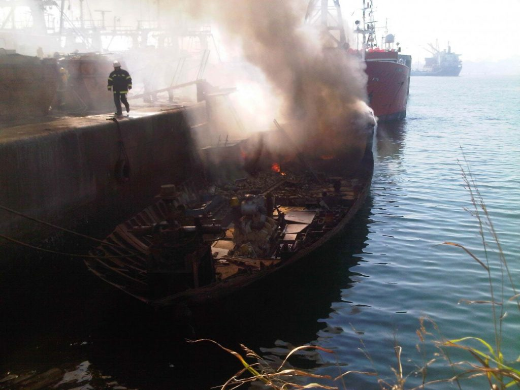 Emergency services respond to vessel on fire in Durban harbour