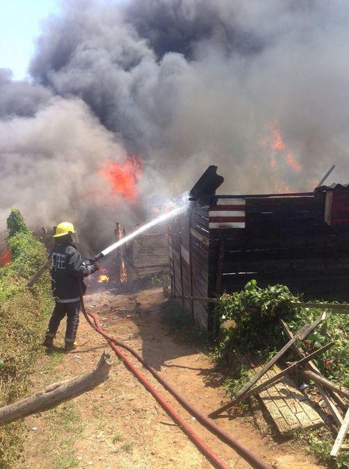 Informal dwellings ablaze in Durban North