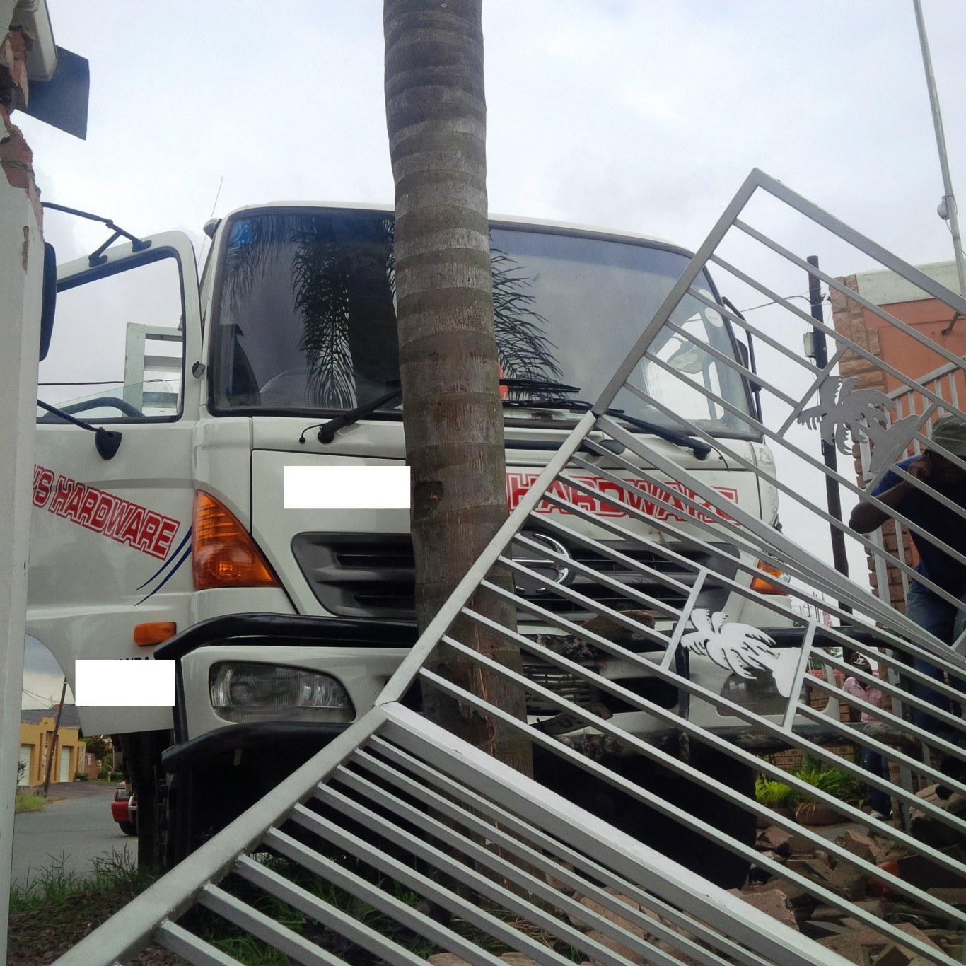 Truck crashes into fence in Durban