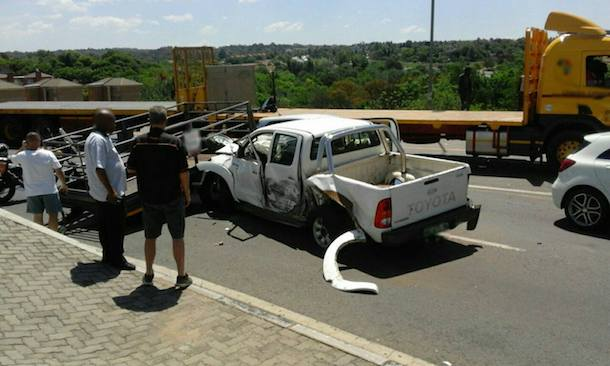 Bakkie with a trailer collides into stationary truck, Malibongwe Drive, Strijdom Park JHB