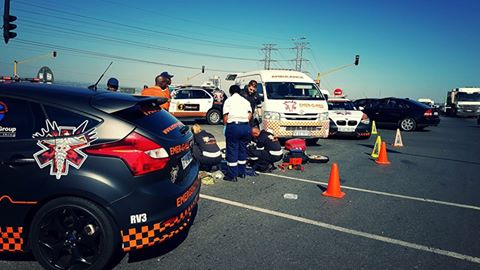 A cyclist struck by a vehicle in Midrand