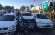 Three cars and a bike in collision at intersection in Pretoria
