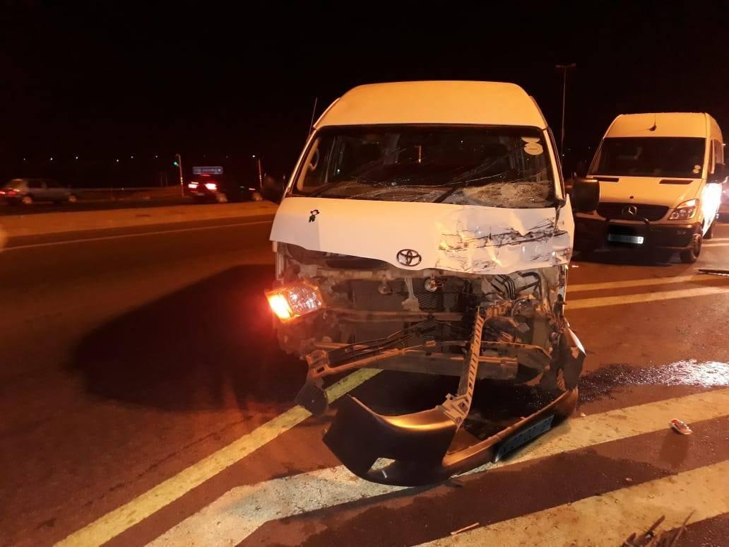 One injured in collision between two taxis on N12 Kingsway Bridge.
