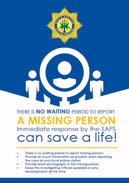Several missing persons sought by Police! Remember there is NO Waiting Period to report a Missing Person