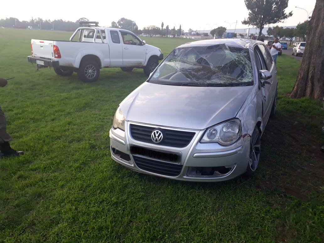 A single-vehicle collision leaves two injured in Boksburg