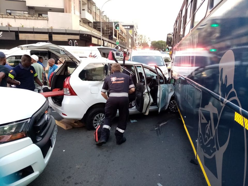 Multiple injured in a bus and vehicle collision in Rosebank