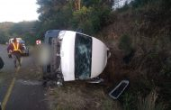 Nine persons injured in taxi rollover on the R56